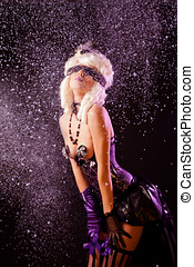 Expressive woman in burlesque outfit - Expressive woman in...