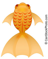 Fancy Goldfish Illustration Top View Isolated on White