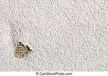 Cracked plastered wall - Plastered white wall with crack