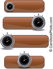 chronometer banner - illustration set of brown banner with...