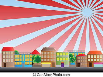 neighborhood sunburst - illustration of neighborhood of city...