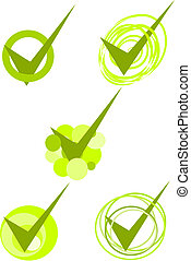 Green accepted symbols - vector - Five green accepted...