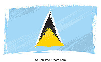 Grunge Saint Lucia flag - Saint Lucia national flag created...