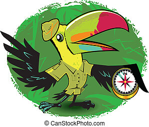 Toucan Trail Guide - A cartoon toucan explorer holding a...