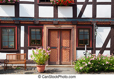 German Half-timbered house - Traditional half-timbered house...