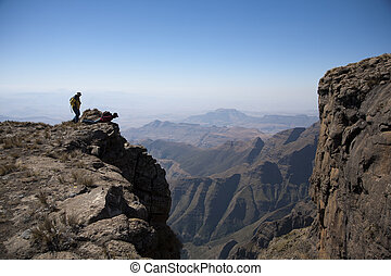 Looking over the Edge - Standing on the Mountain