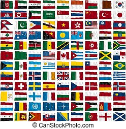 Flags of the world's countries - World countries, some wavy...