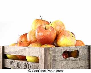 Wooden box full of apples