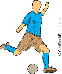 Footballer - A poker player with the ball Vector...