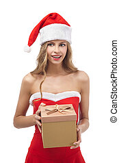 Happy Christmas woman holding gift wearing Santa costume