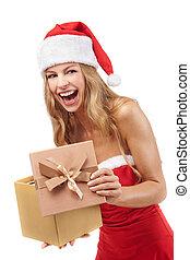 身に着けていること, 女, 保有物, 贈り物, 衣装,  santa, クリスマス, 幸せ