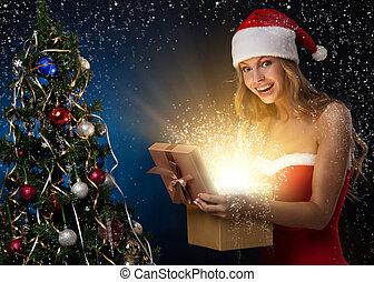 美しい, 女, クリスマス