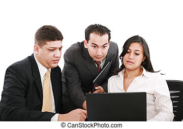business team looking shocked and worried when looking at...