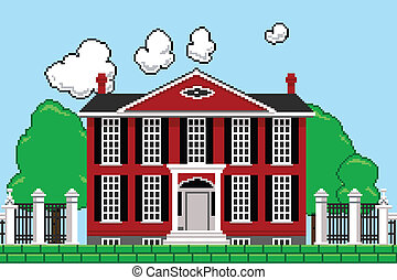 Eight Bit Mansion - Retro eight bit videogame rendering of a...