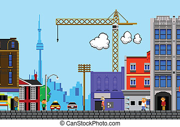 Eight Bit Toronto - Retro eight bit videogame view of the...