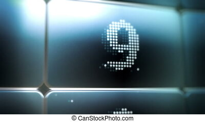 LED Screen Countdown - Animation of a glowing blue LED...