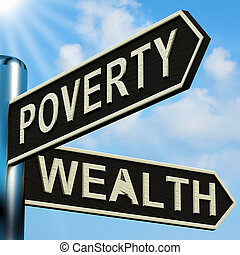 Poverty Or Wealth Directions On A Signpost - Poverty Or...