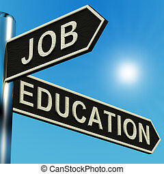 Job Or Education Directions On A Signpost - Job Or Education...