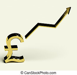 Pound Sign And Up Arrow As Symbol For Earnings Or Profit -...
