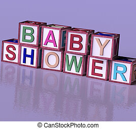 Kids Wooden Blocks Spelling Baby Shower As Symbol for Babies...