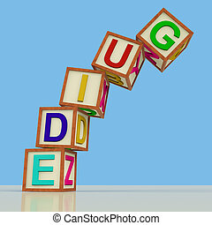 Wooden Blocks Spelling Guide Falling Over As Symbol for...