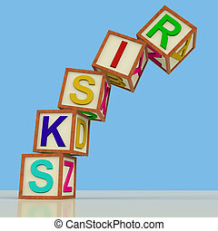 Wooden Blocks Spelling Risks Falling Over As Symbol for...