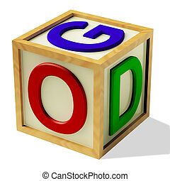 Block Spelling God As Symbol for Faith And Religion - Wooden...
