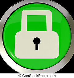 Icon Or Button Showing Padlock For Security Or Locked
