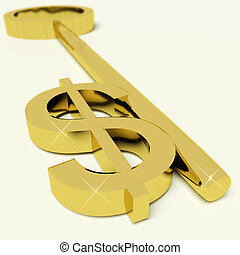 Key With Dollar Sign As Symbol For Money Or Wealth