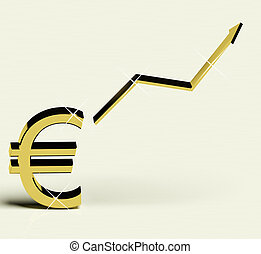 Euro Sign And Up Arrow As Symbol For Earnings Or Profit