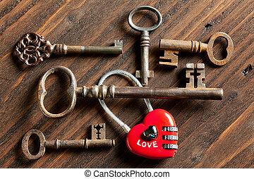 Valentine keys and padlock heart - Rusty keys and a heart...