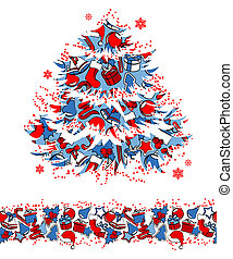 Christmas tree made of traditional symbols and seamless border