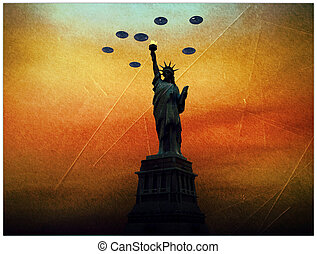 ufo invaders over statue of liberty in old picture