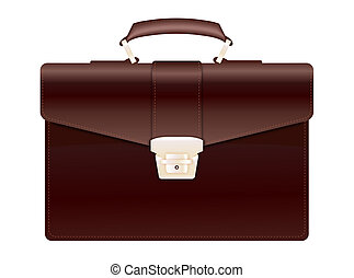 Brown Leather Briefcase - Realistic illustration of brown...