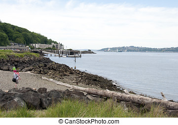Puget Sound - A view of the Puget Sound from west Seattle,...