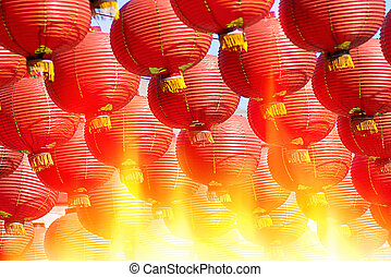 Chinese Red lanterns at night - Chinese Red lanterns at...