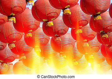 Chinese Red lanterns at night