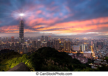 Sunset of Taipei city