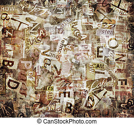 Grunge textured background with old torn newspapers