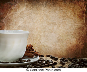 Coffe Cup - White coffee cup in front of a grunge wall