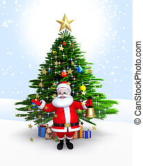 Santa claus with bell & xmas tree - Santa Claus with bell &...