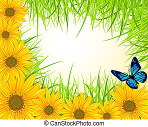 background with yellow sunflowers, green grass and...