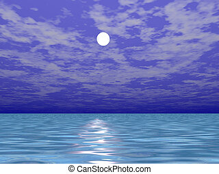 Moon over the sea water