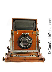 old wooden camera isolated on the white background