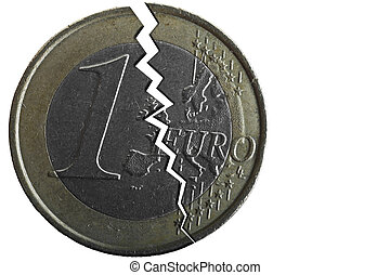 Euro Crisis - Conceptual image showing a cracked 1 Euro coin