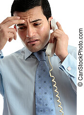Stressed depressed man businessman on phone - Stressed,...