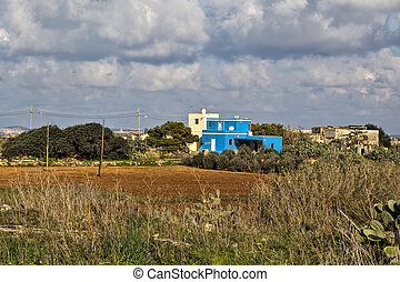 Blue Eyesore - Countryside villa painted in the most...