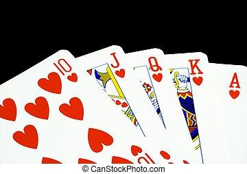 royal flush of hearts - closeup royal flush of hearts on...