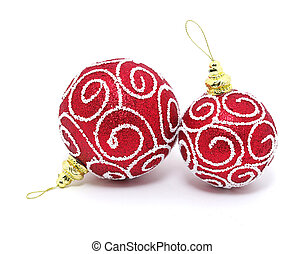 Red ball of christmas on a over white background