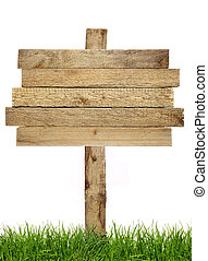 Wood sign with grass isolated on a white